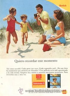 Página Publicidad Original *KODAK · Kodachrome II Color Movie Film* Familia bañador arena - Año 1967