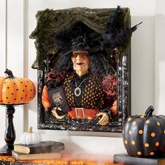 Decorate your table with Halloween tabletop decor, or create your own Halloween Haven with Halloween mantel décor, pumpkins, skeletons, and more from Grandin Road. Halloween Shadow Box, Halloween Mantel, Halloween Season, Halloween House, Fall Halloween, Halloween Crafts, Halloween Decorations, Happy Halloween, Halloween Witches
