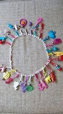 **1980s Vintage Plastic Charm Necklace with 24 Charms 80s**