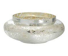 Centrotavola in vetro acidato Flower argento - 40x16 cm