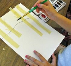 love this. Watercolor lesson for kids -- birch trees