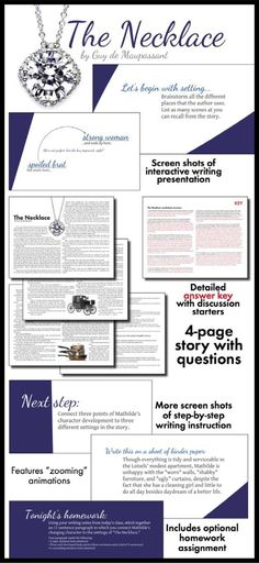 """Use the classic short story, """"The Necklace"""" by Guy de Maupassant, to teach your students the elements of literary analysis. First, they'll enjoy the ironic twist ending. Then, they'll dig deep into their thinking and writing. Get ready for two days of compelling discussion about writing and classic lit."""