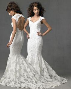 Beautiful romantic lace wedding dress mermaid styling with open back