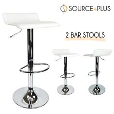 Amazon.com - Bar Stool Airlift Swivel Barstools Adjustable White (Set of 2) - Barstools Without Backs