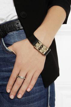 Valentino|Rockstud leather bracelet|NET-A-PORTER.COM
