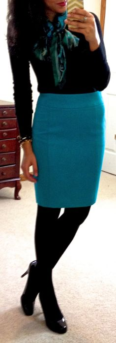 bright skirt and matching scarf.