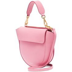 Wandler pink Hortensia mini leather shoulder bag ($730) ❤ liked on Polyvore featuring bags, handbags, shoulder bags, pink handbags, pink leather purse, pink shoulder bag, genuine leather shoulder bag and mini leather handbags