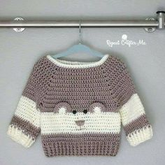 "It's so ""Beary"" Cute! This Baby Bear Crochet Character Sweater is hot off. - - It's so ""Beary"" Cute! This Baby Bear Crochet Character Sweater is hot off my hook! I couldn't resist the cuteness when I spotted this crochet pattern."