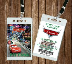Cars VIP Pit Pass Invitation 5 Invites Includes by HouseofMinions
