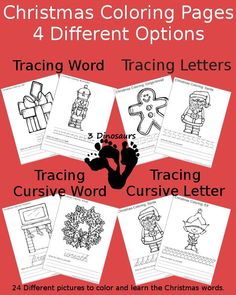 Free Christmas Coloring with Word Print & Cursive Printable: tracing words and letters - 3Dinosaurs.com