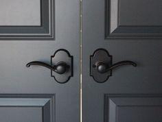 Hardware: Kwikset's Austin lever Paint: Benjamin Moore's Wrought Iron Door Paint Colors, Front Door Colors, Paint Colors For Home, House Colors, Front Doors, Wrought Iron Paint, Wrought Iron Doors, Colonial Exterior, Exterior Doors