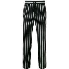 Haider Ackermann striped trousers ($799) ❤ liked on Polyvore featuring men's fashion, men's clothing, men's pants, men's casual pants, black, mens striped pants and mens tuxedo stripe pants