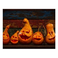 Shop Scary Jack O Lantern Halloween Pumpkins 3 Postcard created by autumncolors. Halloween Tags, Halloween Gourds, Fall Halloween, Halloween Decorations, Halloween 2019, Jack O'lantern, Pumpkin Carving Templates, 3d Pumpkin Carving, Carving Pumpkins