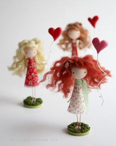 cute dolls from wooden balls and paper cones