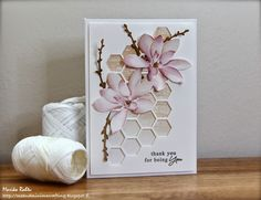 Thank you card with Altenew Magnolias - Me and Minime crafting.