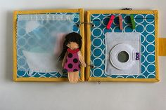 Little travel Dollhouse book with felt doll.  This is a little version of my Dollhouse books -