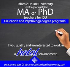 Send your CV to careers@islamiconlineuniversity.com Islamic Online University, Psychology Degree, Announcement, Career, Teacher, Education, Carrera, Professor, Teachers