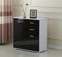 Sideboard Cabinet High Gloss Black Cupboard Drawers Storage Modern Furniture New