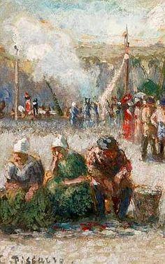 """Camille Pissarro (1830-1903) ~ """"Dieppe, Le Marché aux Poissons sur le Port"""", 1901 (Détail)"""