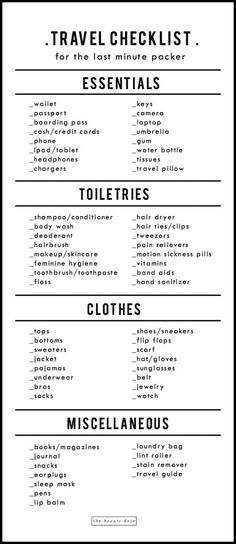 Free print checklist for the Last Minute Packer .- Free print checklist for the last minute packer - Travel Packing Checklist, Travel Bag Essentials, Travelling Tips, Packing Hacks, Travel Hacks, Travel Ideas, International Travel Checklist, Suitcase Packing Tips, Road Trip Checklist