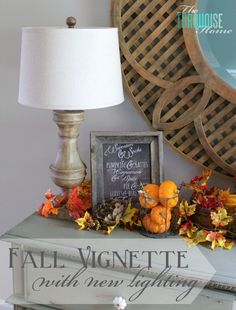 love the burlap, chalkboard and rustic elements in this Fall vignette!