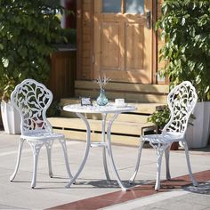 IKayaa 3PCS Moderne Patio Bistro Set Balkon Garten Tisch U0026 Stühle Set Weiß  R1X7