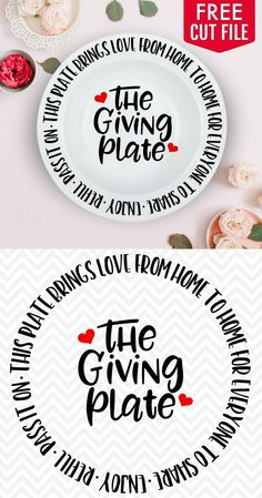 This fun Giving Plate makes the best gift especially when it's filled with delicious baked goods! Use the FREE cut file to create your own giving plate. Giving Plate, Free Svg, Vector Free, Cricut Fonts, Cricut Svg Files Free, Cricut Vinyl, Vinyl Art, Cricut Tutorials, Cricut Ideas