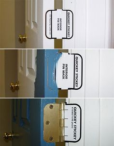 The Quickey-Stickey Door Hinge Mask ($7.50 for 20 masks) is a brilliantly simple solution to the age-old problem of how to neatly paint around door hinges--without unscrewing the hinges