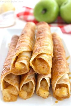 Caramel Apple Taquitos -flour tortillas loaded with apple pie filling, cinnamon sugar, and caramel. Great fall dessert.