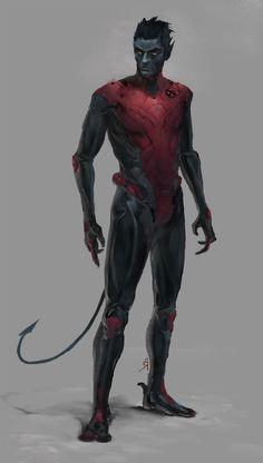 Faz falta nos novos filmes.   Awesome X-Men character art by Oscar Römer - Nightcrawler looks badass!