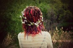 Pink and purple dreadlocks, and a flower crown ♥