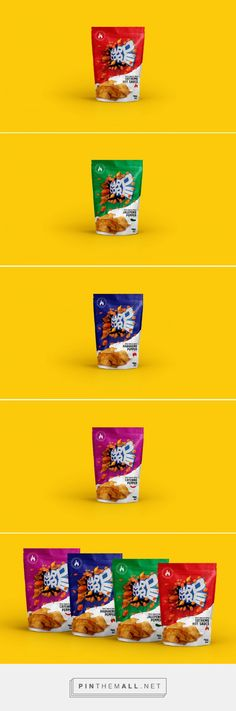 Branding, graphic design and packaging for HARDCORE SPICE SNACKS on Behance by Agência BUD São Paulo, Brazil curated by Packaging Diva PD. Concept formed through its spicy flavors, making his identity based on expressive and colorful design.