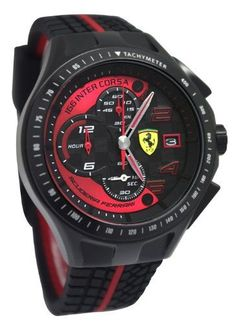Ferrari 0830077 Scuderia SF103 Chrono Black/Red Race Day Rubber Men Watch NEW Ferrari