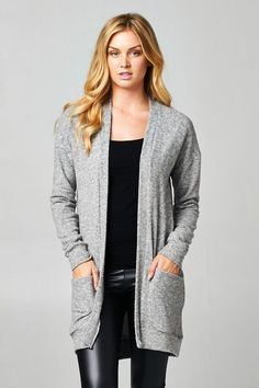 Classic open-front cardigan in Heather Gray. This fabric is an ultra-soft Hacci knit that feels like Cashmere. Two front pockets. Great basic that will never go out of style! Also available in Camel.