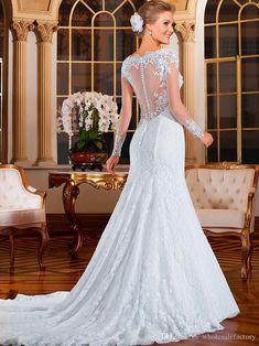 Vestido De Noiva 2016 Sheer Back Mermaid Wedding Dresses Sexy Long Sleeves Bridal Gowns Lace Sweep Train Vintage Bridal Gowns