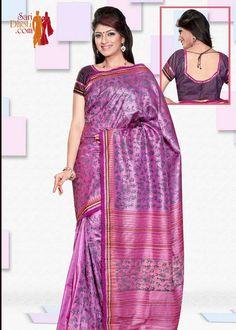 Pink color body with block print boutique sarees @ http://www.saridhoti.com/Women/Saree/Boutique