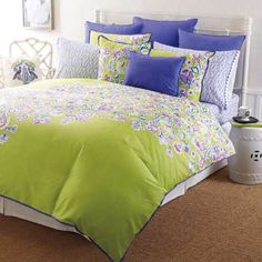 Comforter set-lime green with purple