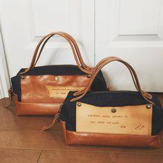 #バッグ #leather #革#レザー#デニム#ボストン#denim#ヌメ革#キャメル#ハンドメイド#ミシン  娘さんと一緒に持ってくださるって 嬉しいな デニムとキャメルのボストン 大・小シリーズ