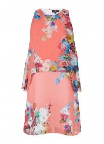 Floral Layered Swing Dress Multi-colour