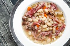 Looking for the best Bean recipes? Get recipes like Hoppin' John, White Bean and Ham Soup and Black Bean Soup from Simply Recipes. Bean Soup Recipes, Chicken Soup Recipes, Ham Recipes, Cooking Recipes, Budget Recipes, Healthy Recipes, Ham And Bean Soup, Ham Soup, White Beans And Ham