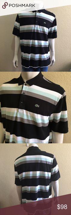 e99857b210 Lacoste Size 8 XXL Multicolor Striped Polo Black, white, light green/blue  and · Noir ...