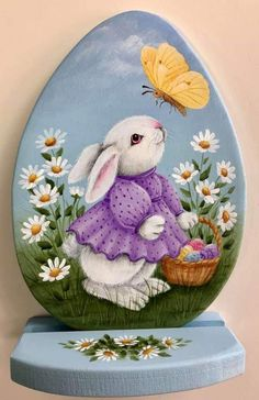 Painted Rock Animals, Painted Rocks Craft, Hand Painted Rocks, Easter Paintings, Rabbit Pictures, Tole Painting Patterns, Easter Pictures, Pintura Country, Egg Art