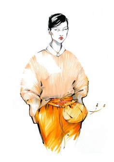 Jil Sander  Spring 2017 Ready-to-Wear  Milan Fashion week/Detail  Fashion illustration by Alina Grinpauka