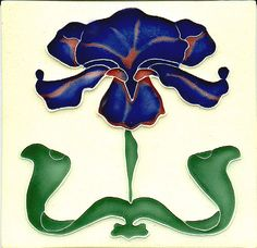 Historic Tiles - Moulded Art Nouveau Tiles - Blue Iris
