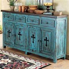 Rustic turquoise furniture. Love the cross detail.