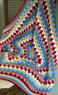 SALE Crochet Granny Square Blanket Cath Kidston Colours In Stock
