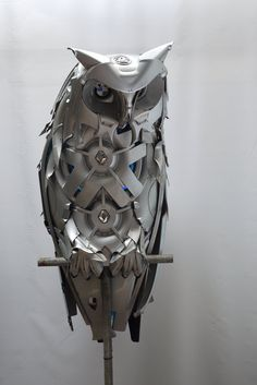 HUBCAP sculptures: by Ptolemy Elrington (Brighton, UK): bmw owl • www.hubcapcreatures.com/welcome • http://hubcapcreatures.deviantart.com