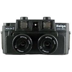 Holga 120-3D Stereo Camera with Built-in Flash and Brass Tripod Mount