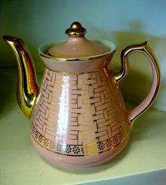Hall China Gold Label pink basketweave teapot