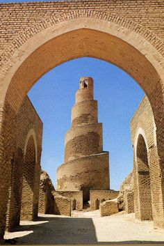 The Minaret of Samarra, also known as the Malwiya Minaret or Malwiya Tower is part of the Great Mosque of Samarra in Samarra, Iraq. The mosque is one of the largest in the world, and was built by the Abbasid caliph Al-Mutawakkil. The minaret was originally connected to the mosque by a bridge.